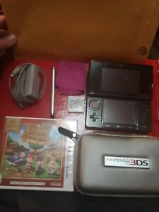 Nintendo 3DS System Console Cosmo Black-Charger, Case, Animal Crossing HUGE LOT!