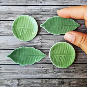 Dollhouse Miniatures Large Green Leaf Ceramic Plate Dish Set Tableware Supply