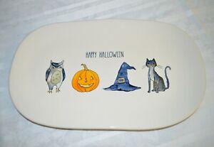 NEW 2019 Rae Dunn Happy Halloween Serving Platter Tray Owl Pumpkin Cat Witch Hat