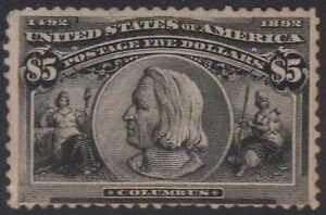 US Scott # 245 $5 Columbian Unused Mint Regum LH