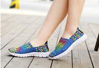Handmade Stretch Fabric Shoes Rainbow Color Flat Casual Shoe Woman Woven Shoes