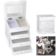 Jewelry Box Organizer Storage Case Mirror Ring Earring Necklace Bracelet White