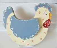 "Vintage Country Hen Wooden Decor Chicken Wall Plaque Hand Painted 10.75"" x 6"""