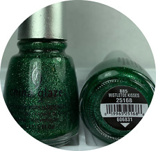 China Glaze Nail Polish Mistletoe Kisses 885 Sparkling Emerald Green Glitter
