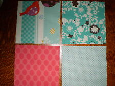 """4 x 5"""" RED SPOT,BIRD, BLUE FLORAL & SPOTTED Fabric Squares (12.5cm x 12.5cm)"""