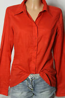 edc by ESPRIT Bluse Gr. S dunkel-orange Baumwolle Langarm Hemd/Bluse