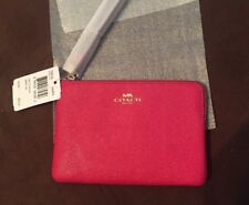 NWT Coach Corner Zip Wristlet Crossgrain Leather F58032 Bright pink