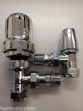 Termostática Toallero Radiador válvulas 15mm PC ángulo Trv Twin Pack Set Cromo