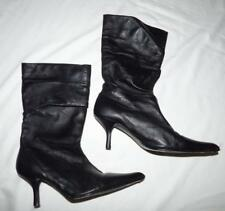 ZU 8 39 BLACK LEATHER SLOUCH BOOTS kitten heel pointy gathered vintage SUZY xcon