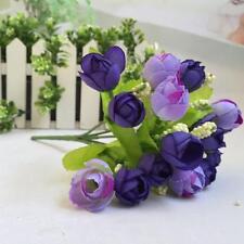 15 Heads Artificial Rose Silk Flower Wedding Bridal Bouquet Bunch Home Decor A