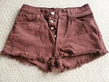LEVI 501 Maroon/Burgundy Hotpants Shorts Jeans 501 28 UK 8 Summer Festivals Boho