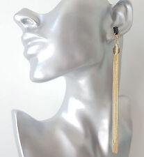 Hermoso tono oro de 14 cm de largo Cadena Diamante y Negro bolas Borla Pendientes