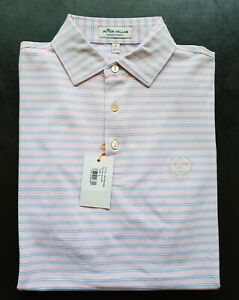 1 NWT MEN'S PETER MILLAR POLO, SIZE: SMALL, COLOR: PALMP (PINK/LIGHT BLUE)(STZ10