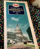 """1942 ESSO-MAP PICTORIAL GUIDE-WASHINGTON, D. C. & VICINITY, """"AS IS"""" SPATTERS"""