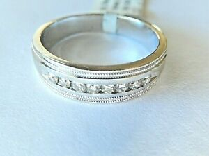 *NWT* 14k White Gold 6 mm Round Cut 1/4CT Diamond Men's Wedding Band Ring Sz 8