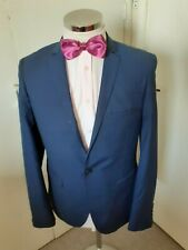 "BURTON London Men's Dark Blue Suit Jacket Chest 40"" Regular Skinny Fit Poly/Visc"