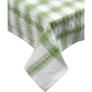 Sage Green Seersucker Checked Tablecloth 100 % Cotton
