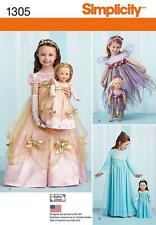 Semplicità per cucire Modello BAMBINO ICE FAIRY PRICESS Costume & DOLL CLOTHES 1305
