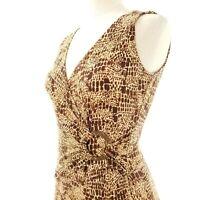 Jones New York Womens Dress Size 4 Faux Wrap Brown Print Sleeveless V Neck