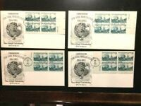 (4) US WORLDS FAIR NEW YORK FIRST DAY COVER 1964-4 STAMP BLOCK-FREE SHIPPING