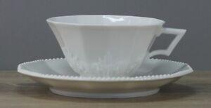 Nymphenburg Perl weiß Teetasse Tasse mit Unterteller Untertasse Untere Ø ca. 10