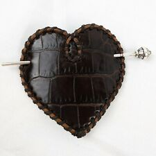 Nearly New Brighton Leather & Silver pin heart Barrette Rope edge brown