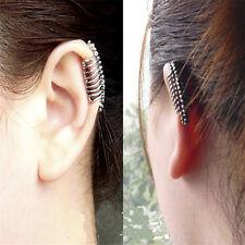 1 Pair Punk Rock Ear Cuff Earrings Leaf Chain Tassel Clip Wrap Stud Jewelry GL