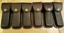 Lot of 6 new cosmetic second Brown leather knife sheaths - fits Buck 110 or lb7