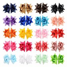 """20 Pcs 3"""" Girls Grosgrain Ribbon Boutique Double Layer Hair Bows For Baby Girls"""