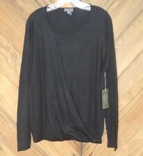 NEW Vince Camuto Knit Top Black Boatneck Lightweight Cotton Sweater NWT $89 sz M