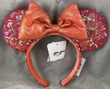 Disney Parks Ariel's Grotto Coral Little Mermaid Mouse Ears Bow Headband Sequin