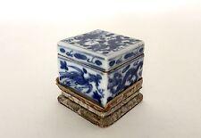 Antico Cinese Blu e Bianchi Porcellana Seal Pest BOX Sei-ca WANLI Mark