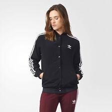adidas Originals Women's 3 Stripes Trefoil Logo Bomber Jacket Black & White