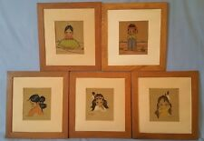 Lot of (5) Vintage Oodees Indian Girl Boy Prints Gerda Christoffersen 50's 60's