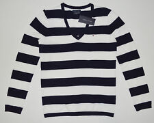 NWT Womens TOMMY HILFIGER Long Sleeve Pullover Sweater, V-Neck, S, Small, Stripe