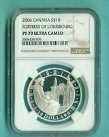 2006 CANADA $10 FORTRESS OF LOUISBOURG - NGC PF70 UC /w ALL PACKAGING - SILVER