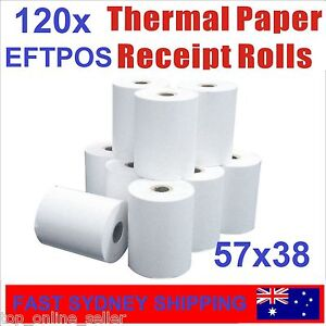120 Bulk Rolls 57x38mm Premium EFTPOS Thermal Paper Cash Register Receipt Rolls