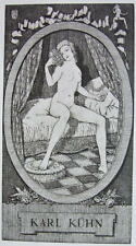 NUDE EX LIBRIS Young Woman Bed Awoken Morning Toilette - 1922 Lichtdruck Print
