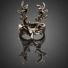 Vintage Retro Gothic Punk Style Jewelry Women Bronze Sika Deer Finger Ring hv2n