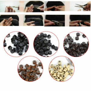 500/1000pcs 5mm Silicone Micro Beads Rings Loop Tube For Human Hair Extension