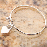 Fashion Women Charm Peach Heart Bangle Bracelet Cuff Silver Plated Bracelets LTU