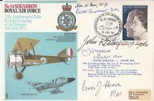 RAF13a  54 Sqn 25th Anniv 1st Jet Crossing Flown Signed 5 Battle Pilots, Crew,