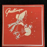 Mid century vintage flocked silhouette Christmas card of lady carrying muff