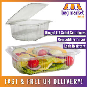 Clear Hinged Lid Salad Containers | Plastic/Snack/Box/Tub/Deli/Takeaway/Food/Pot