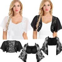 Women Sheer Lace Chiffon Shrug Bolero Summer Cropped Top Cardigan T Shirt Blouse