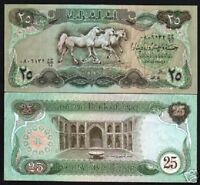 IRAQ 25 IRAQI DINARS P-72 1981 ARABIAN HORSE PALACE UNC CURRENCY MONEY BILL NOTE