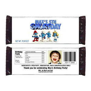 12 The Smurfs Candy Wrappers Birthday Party Favors Personalized Smurf Birthday