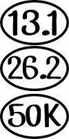 Vinyl Car Decal Sticker Marathon Running Half Distance 26.2 13.1 50k 10k Ultra