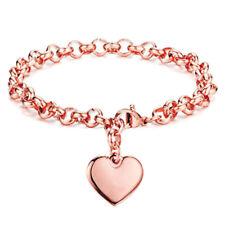 Fashion Women Lady Stainless Steel Cuff Bangle Love Heart Charm Bracelet Chain