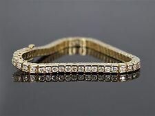 14k oro amarillo redondo 5.60ct Diamante Tenis barra de Unión Set Pulsera cadena